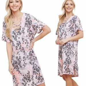 NWT Boutique Dress Leopard Tie Dye S M L
